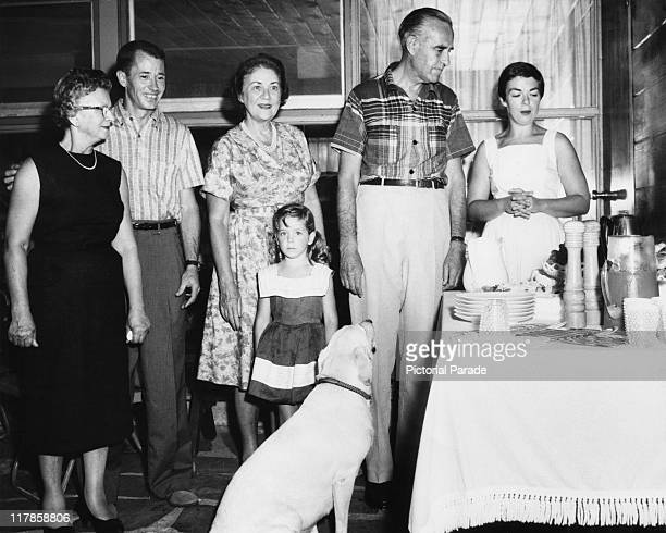 Governor of New York and former US Ambassador to the Soviet Union W Averell Harriman centre right at home with his wife Marie Norton Harriman and...