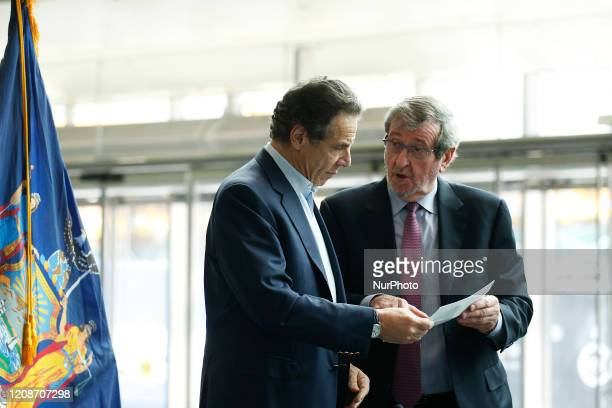 Governor of New York Andrew Cuomo and CEO of Northwell Health Michael Dowling in New York United States on March 30 2020 US Army Corps of Engineers...