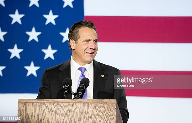 Governor of New York Andrew Cuomo speaks at Democratic presidential nominee Hillary Clinton's election night party at Javits Center on November 8...