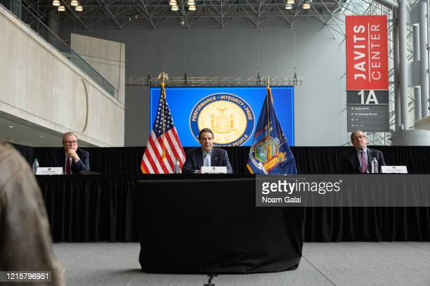 Governor of New York Andrew Cuomo speaks during a news conference at the Jacob Javits Convention Center during the Coronavirus pandemic on March 30...