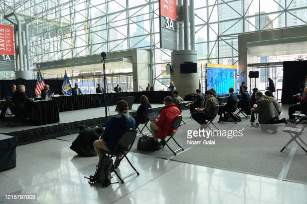 Governor of New York Andrew Cuomo speaks during a news conference at the Jacob Javits Convention Center during the Coronavirus pandemic on March 30,...