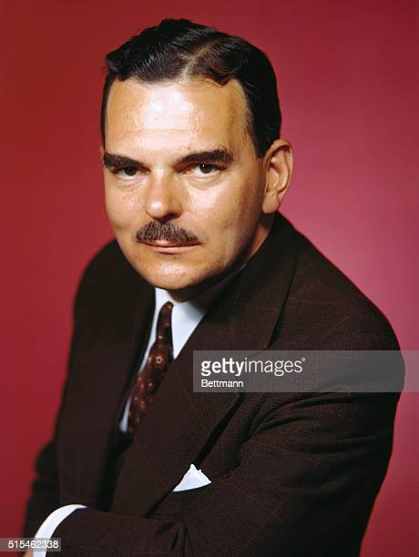 Governor of New York Thomas E Dewey is shown in a head and shoulders portrait