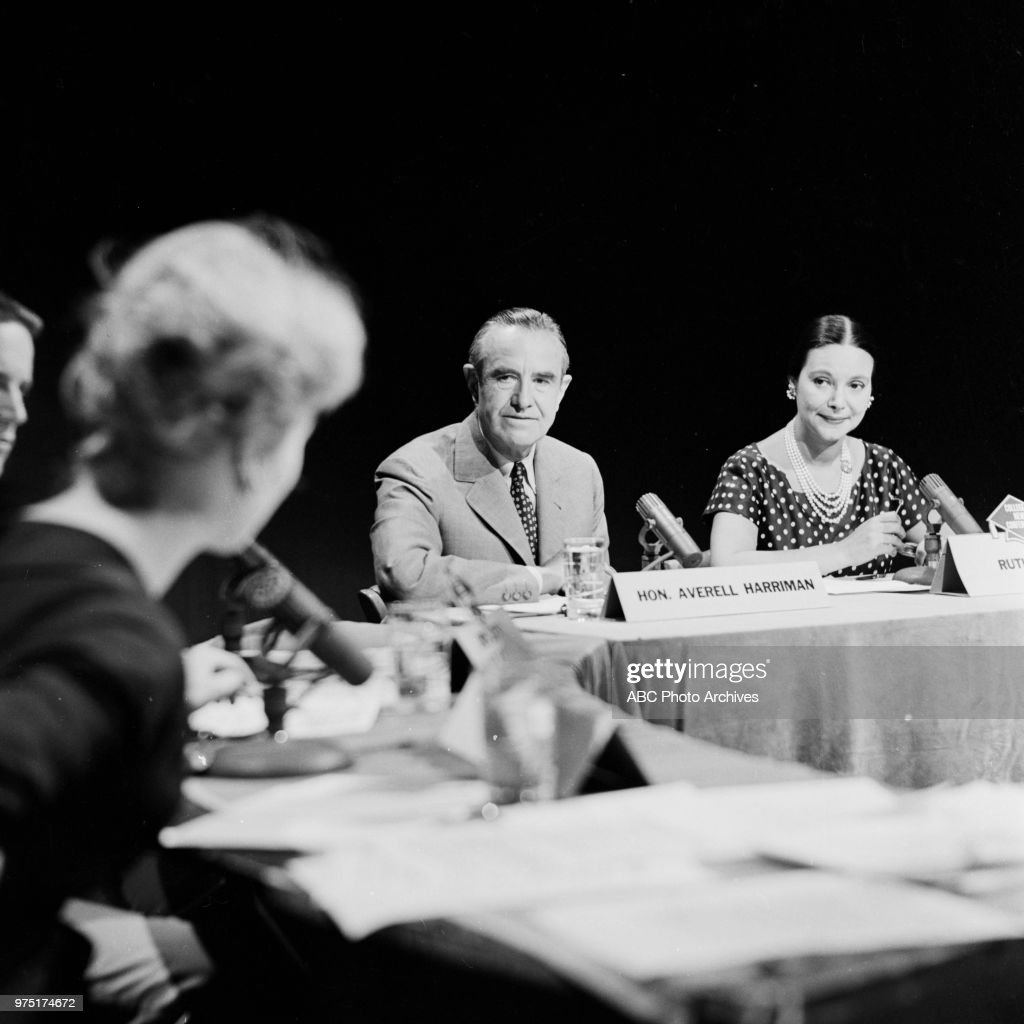 Governor of New York W Averell Harriman, Ruth Hagy on 'College News Conference'.