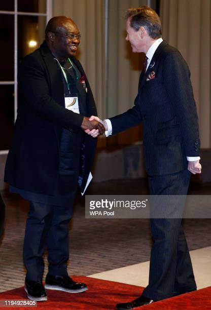 Governor of Nigeria's Abia State Okezie Ikpeazu arrives as Prince William, Duke of Cambridge and Catherine, Duchess of Cambridge host a reception to...
