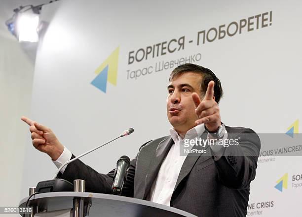 Governor of Odessa region exGeorgian president Mikheil Saakashvili speaks during a pressconference in KievUkraineon 29 April2016