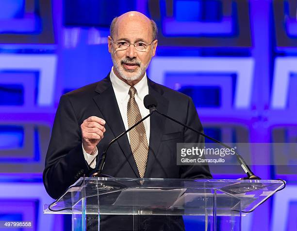 Governor of Pennsylvania Tom Wolf speaks during Pennsylvania Conference For Women 2015 at Pennsylvania Convention Center on November 19, 2015 in...