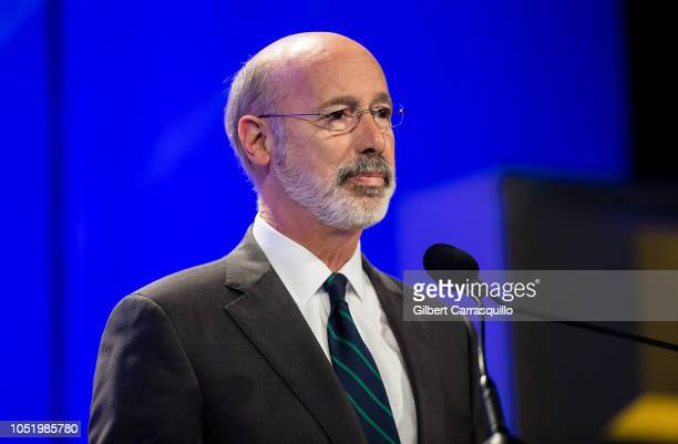 Governor of Pennsylvania Tom Wolf speaks on stage during Pennsylvania Conference for Women 2018 at Pennsylvania Convention Center on October 12, 2018...