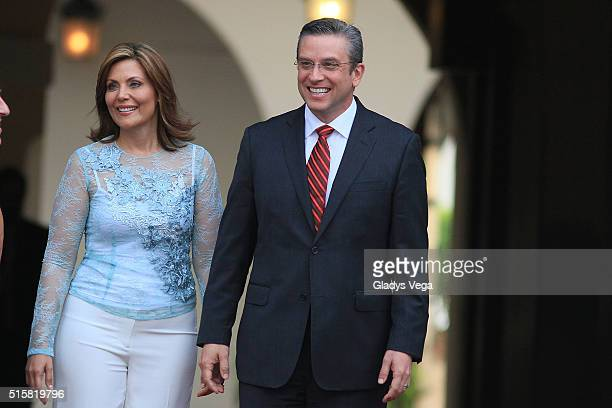 Governor of Puerto Rico Alejandro Garcia Padilla and the First Lady Wilma Pastrana waiting for the arrival of King Felipe VI and Queen Letizia of...