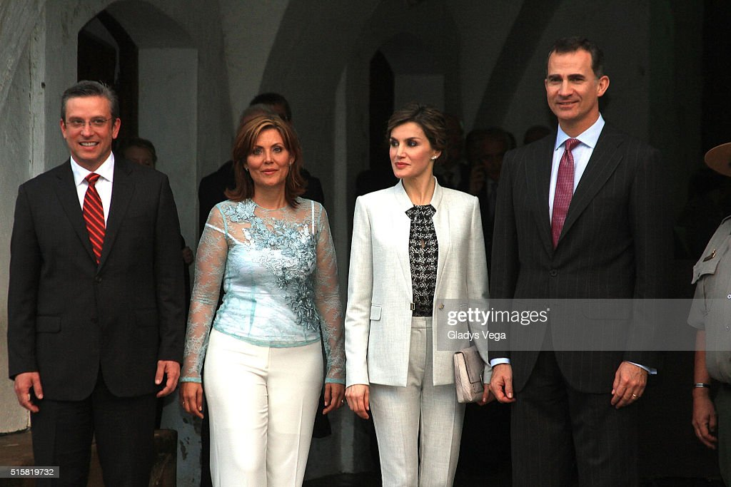 Governor of Puerto Rico, Alejandro Garcia Padilla, First Lady, Wilma Pastrana, King Felipe VI of Spain and Queen Letizia of Spain visit Fort of San Felipe del Morro on March 15, 2016 in San Juan, Puerto Rico.