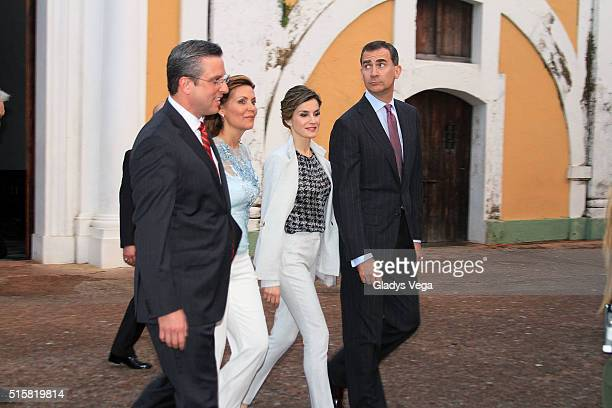 Governor of Puerto Rico Alejandro Garcia Padilla First Lady Wilma Pastrana King Felipe VI of Spain and Queen Letizia of Spain visit Fort of San...