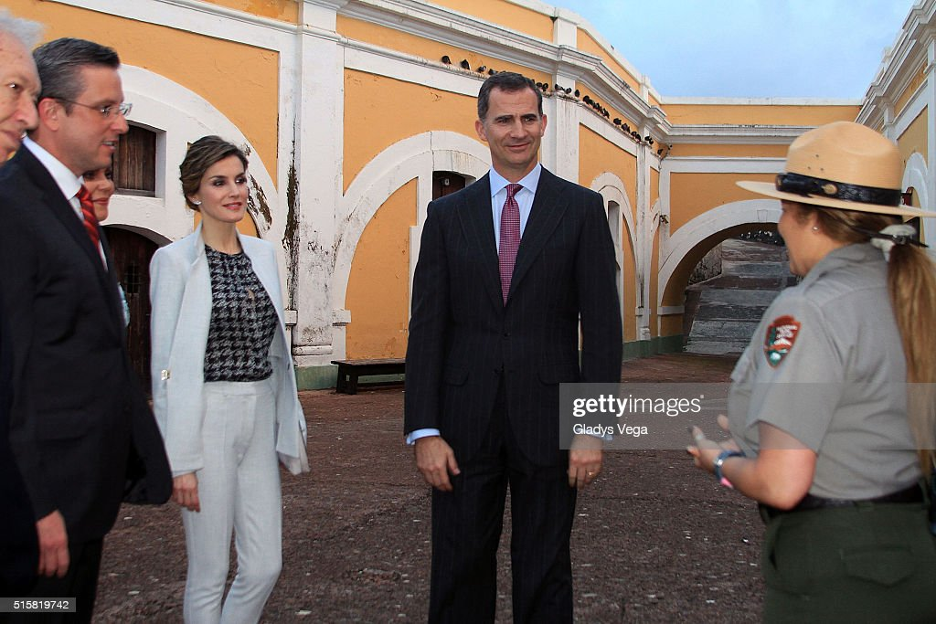 Governor of Puerto Rico, Alejandro Garcia Padilla, King Felipe VI and Queen Letizia of Spain visit Fort San Felipe del Morro on March 15, 2016 in San Juan, Puerto Rico.