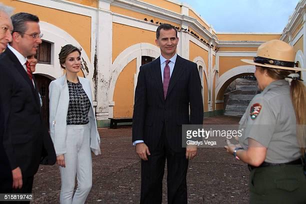 Governor of Puerto Rico Alejandro Garcia Padilla King Felipe VI and Queen Letizia of Spain visit Fort San Felipe del Morro on March 15 2016 in San...