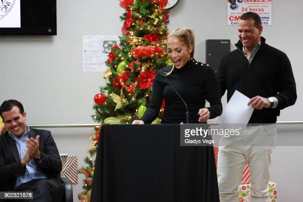 Governor of Puerto Rico Ricardo Rossello Jennifer Lopez Alex Rodriguez during the event in which the celebrities announce the donation of 2 million...