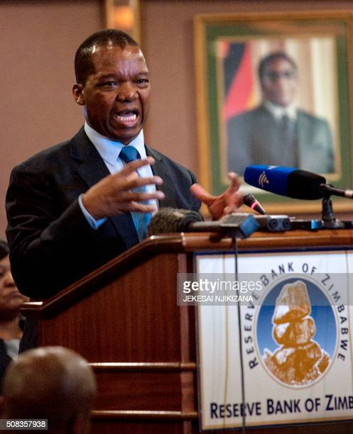 Governor of Reserve Bank of Zimbabwe John Mangudya presents his 2016 Monetary Policy Statement after declaring the country lost USD18 billion through...