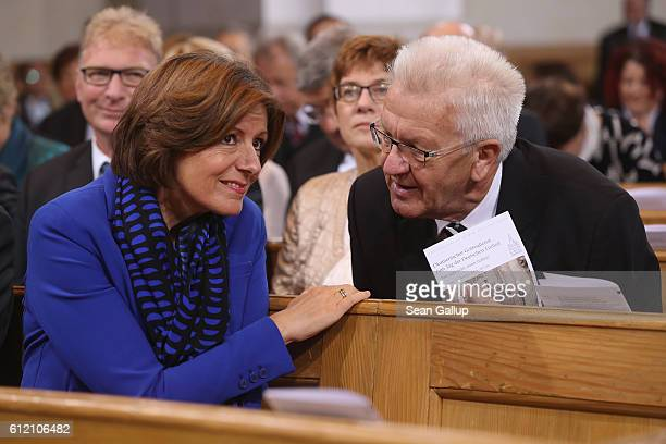 Governor of RhinelandPalatinate Malu Dreyer and Governor of BadenWuerttemberg Winfried Kretschmann arrive for a commemoratory service at the...