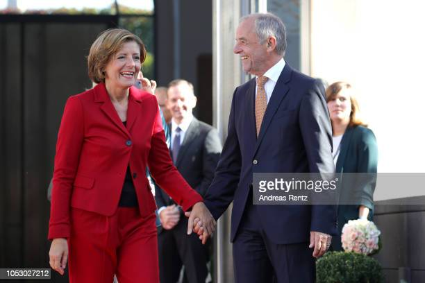 Governor of RhinelandPalatinate Malu Dreyer with her Husband Klaus Jensen awaits shortly King WillemAlexander of The Netherlands and Queen Maxima of...