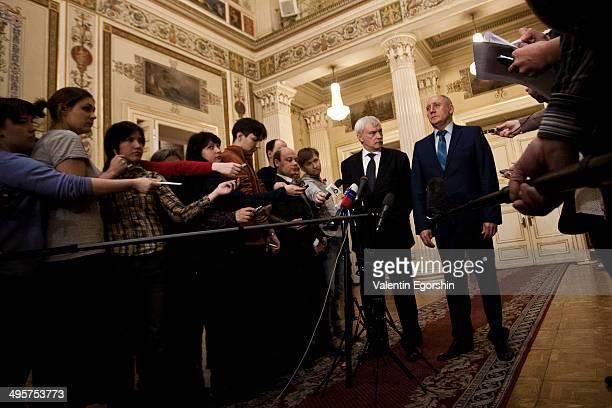 Governor of Saint Petersburg Georgy Poltavchenko and Vice Governor Alexandr Govorunov in Mariinskiy Palace.