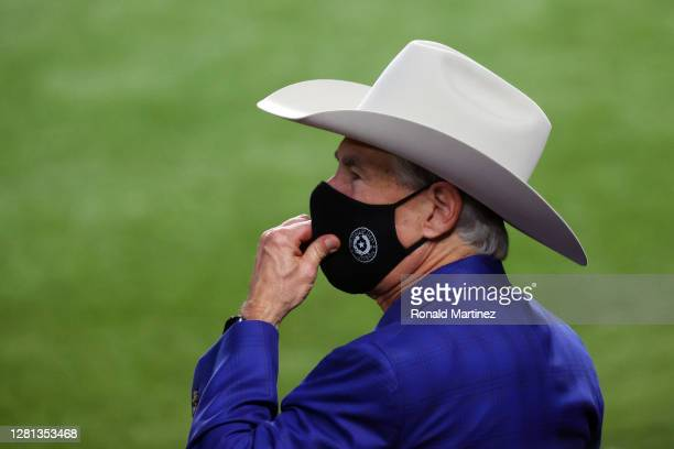 Governor of Texas Greg Abbott looks on prior to Game One of the 2020 MLB World Series at Globe Life Field between the Los Angeles Dodgers and the...