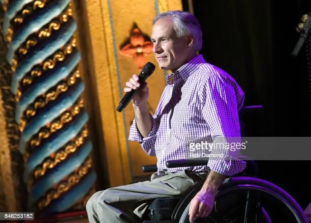 Governor of Texas Greg Abbott performs onstage during George Strait's Hand in Hand Texas benefit concert Strait and special guests Miranda Lambert...