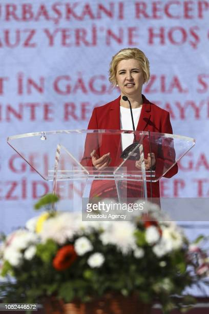Governor of the Autonomous Territorial Unit of Gagauzia Irina Vlah delivers a speech during a meeting with the attendance of President of Turkey...