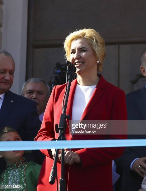 Governor of the Autonomous Territorial Unit of Gagauzia Irina Vlah speaks during the opening ceremony of a Cultural House renovated by Altindag...