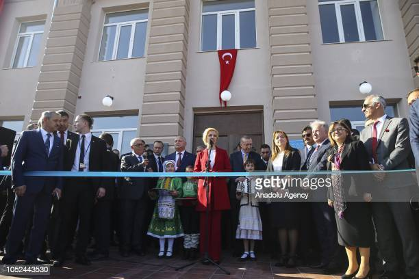 Governor of the Autonomous Territorial Unit of Gagauzia Irina Vlah flanked by President of Turkey Recep Tayyip Erdogan and President of Moldova Igor...