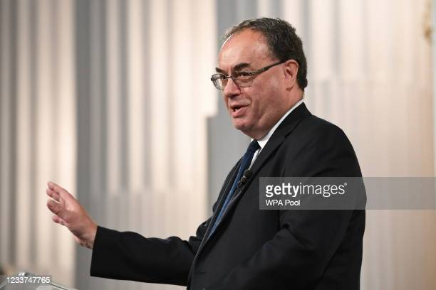 Governor of the Bank of England, Andrew Bailey speaks at the Financial and Professional Services Address, previously known as the Bankers dinner, at...