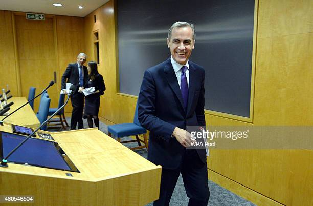 Governor of the Bank of England Mark Carney attends the Bank of England's Financial Stability Report press conference at the Bank of England on...