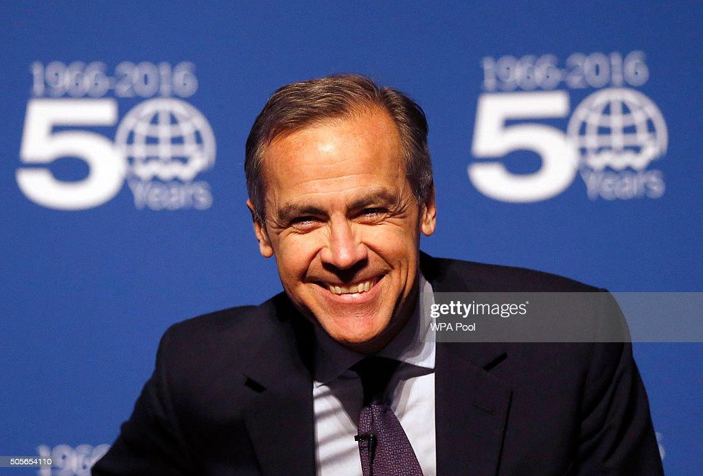 Governor of the Bank of England Mark Carney delivers a speech at the annual Peston Lecture at Queen Mary University on January 19, 2016, in London, United Kingdom. During his speech, Carney explained that it is not yet the time to raise interest rates and with economic growth continuing to slow down in China, there is no timetable for future rises.