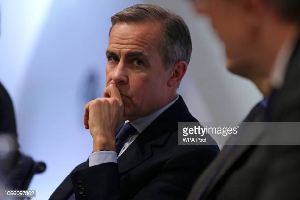 Governor of the Bank of England Mark Carney hosts a Financial Stability Report press conference at the Bank of England on November 28 2018 in London...