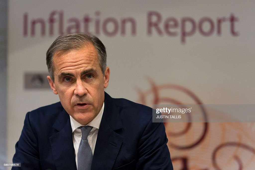 Governor of the Bank of England Mark Carney hosts his quarterly Inflation Report press conference at the Bank of England in central London, on August 4, 2016. The Bank of England on Thursday cut interest rates to a record low 0.25 percent in a vast stimulus package aimed at preventing recession after Brexit. TALLIS