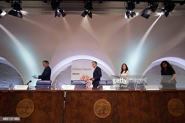 Governor of the Bank of England Mark Carney is seen during the quarterly inflation report press conference at the Bank of England on August 6 2015 in...