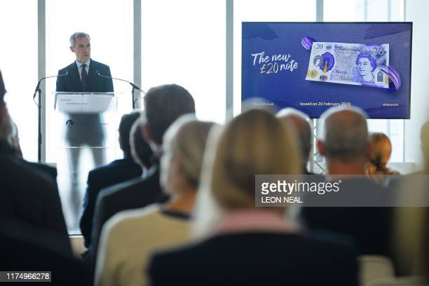 Governor of the Bank of England Mark Carney speaks at a launch event for the new twenty pound note featuring late British painter JMW Turner during...