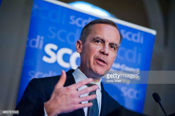Governor of the Bank of England Mark Carney speaks at The George Hotel on January 29 2014 Edinburgh United Kingdom Mark Carney is giving his first...