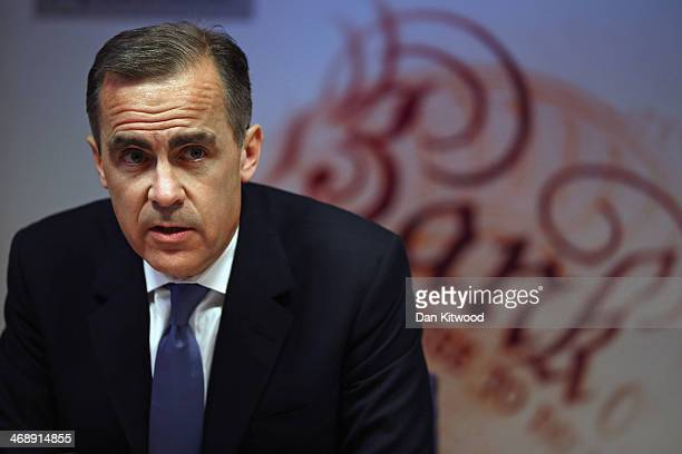 Governor of the Bank of England Mark Carney speaks during the bank's inflation report news conference on February 12 2014 in London England The Bank...