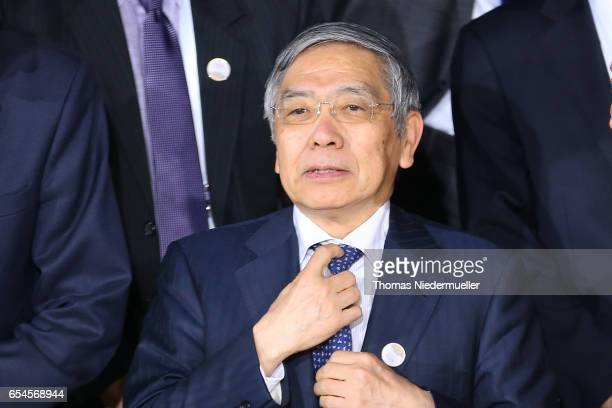 Governor of the Bank of Japan Haruhiko Kuroda attends the family photo during the G20 finance ministers meeting on March 17 2017 in BadenBaden...