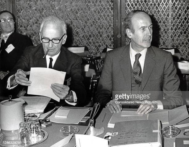Governor of the Banque de France Oliver Wormser and French Minister of the Economy and Finance Valery Giscard d'Estaing sit together as they attend...
