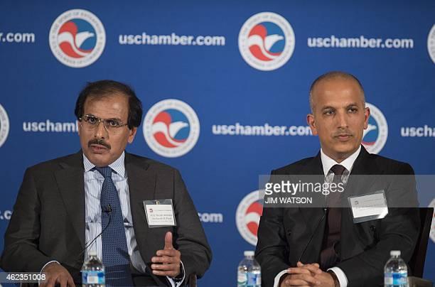 Governor of the Central Bank of Qatar Sheikh Abdullah bin Saud alThani and Qatari Minister of Finance Ali Sharif Al Emadi speak at the US Chamber of...