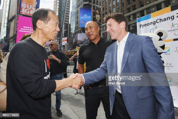 Governor of the Gangwon Province and Host of 2018 PyeongChang Winter Olympics Moonsoon Cho Former NFL Player and Super Bowl XL MVP Hines Ward and...