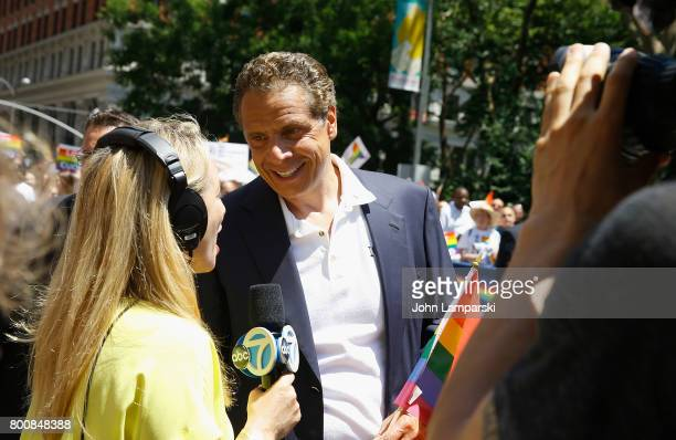 Governor of the State of New York Andrew M Cuomo participates in The March at the New York City Pride 2017 on June 25 2017 in New York City