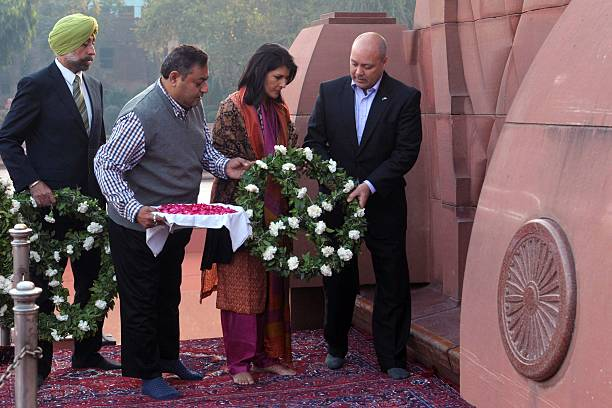 Governor of the US state of South Carolina Nikki Haley her husband Michael Haley lay a wreath in tribute at the Jallianwala Bagh martyrs memorial in..