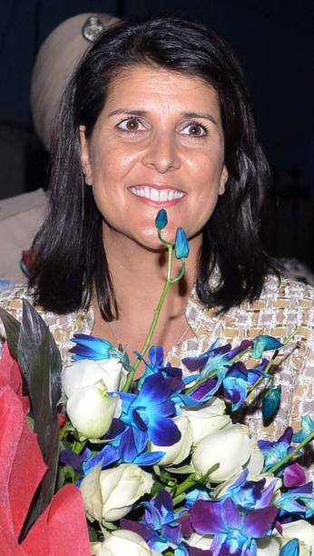 Governor of the US State of South Carolina Nikki Haley poses as she arrives at an airport on the outskirts of Amritsar on November 14 2014 Haley will.