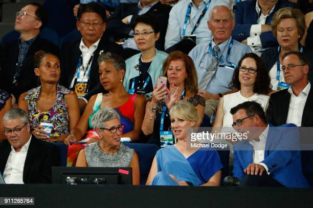 Governor of Victoria Linda Dessau Catherine Andrews and Victorian Premier Daniel Andrews watch the men's singles final between Roger Federer of...