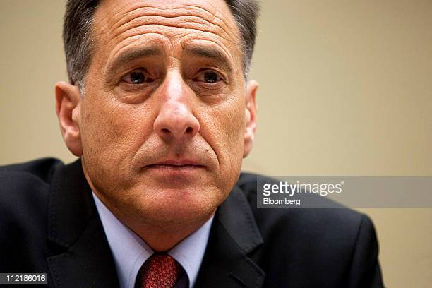 Governor Peter Shumlin a Democrat from Vermont listens at a House Oversight and Government Reform Committee hearing on Capitol Hill in Washington DC...