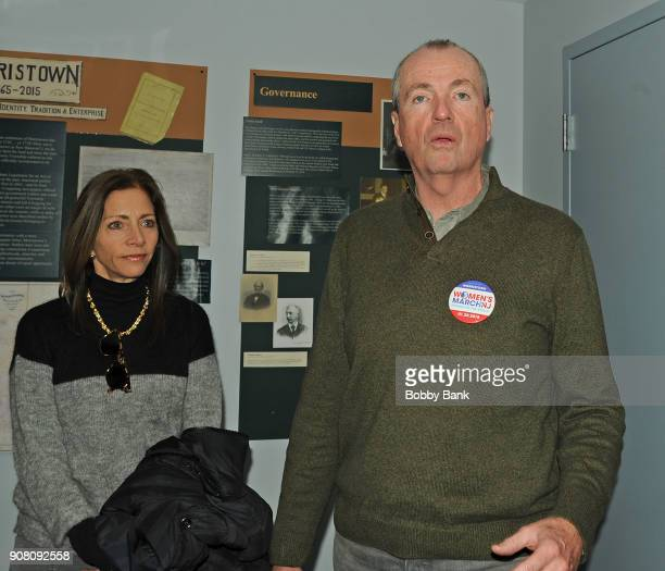 Governor Phil Murphy and his wife First Lady Tammy Murphy attend the 2nd Annual Women's March On New Jersey on January 20 2018 in Morristown New...