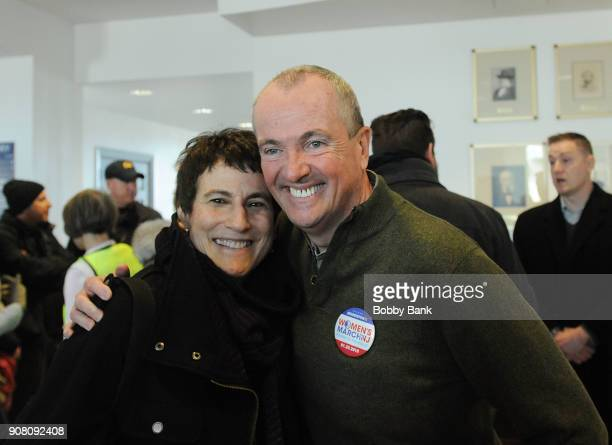 Governor Phil Murphy and Liz Abzug daughter of Bella Abzug attend the 2nd Annual Women's March On New Jersey on January 20 2018 in Morristown New...