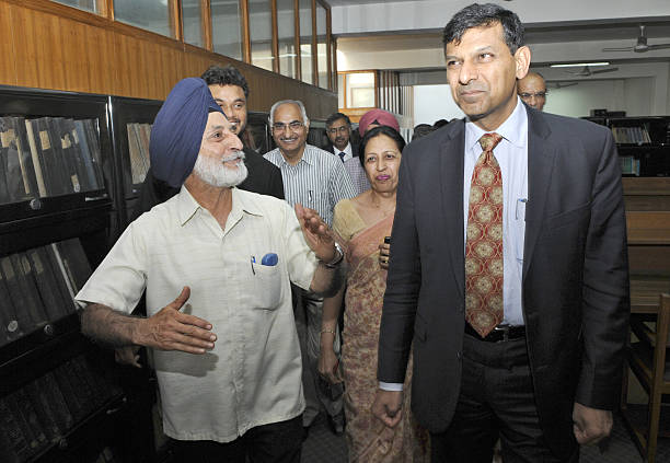 Governor Raghuram Rajan inspecting the library before interactive session at Centre for Research in Rural and Industrial Development office on April..
