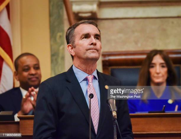 January 08: Governor Ralph Northam addresses a joint session of the Virginia General Assembly in Richmond, VA.