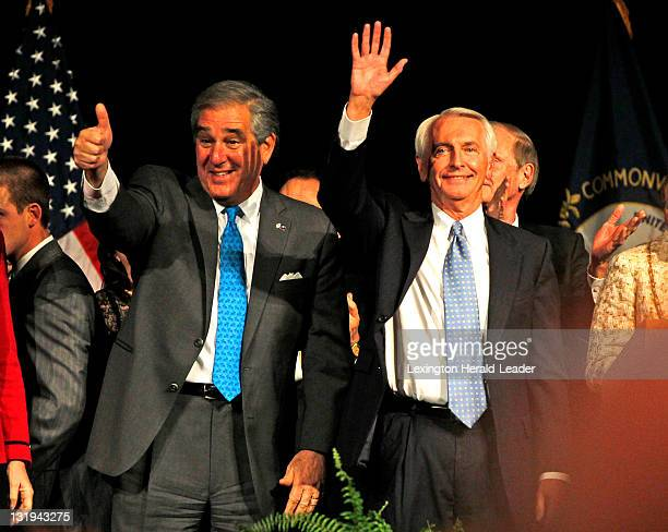 Governor Steve Beshear right and Lt Governor Jerry Abramson after winning the election at the Frankfort Convention Center for the Democratic election...