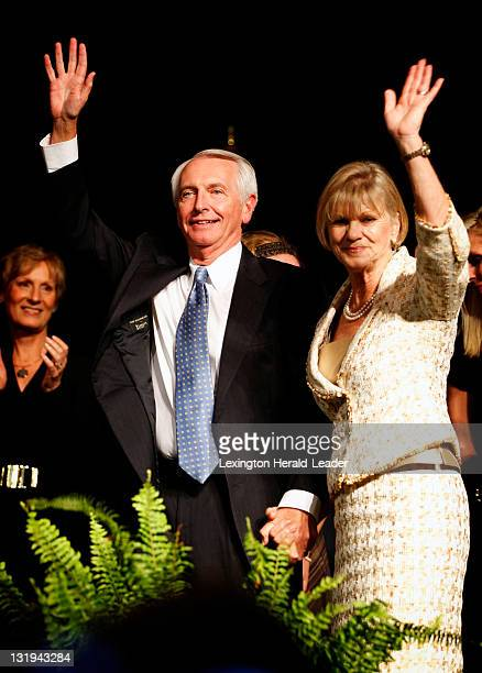 Governor Steve Beshear waves to the crowd with first lady Jane Beshear after winning the election at the Frankfort Convention Center for the...
